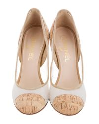 Chanel | Metallic Mesh Cork-trimmed Pumps Tan | Lyst