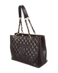 Chanel - Metallic Caviar Grand Shopping Tote Brown - Lyst