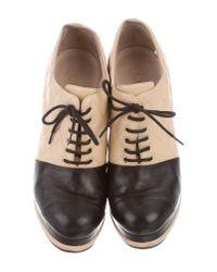 Chanel - Metallic Cap-toe Platform Booties Beige - Lyst