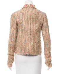 Chanel - Metallic Tweed Open Front Jacket Tan - Lyst
