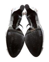 Chanel - Metallic Cap-toe Platform Pumps Black - Lyst