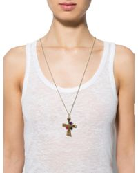 Chanel - Metallic Glass Cross Pendant Necklace Gold - Lyst