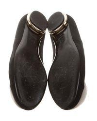 Chanel - Black Camellia Cap-toe Flats - Lyst