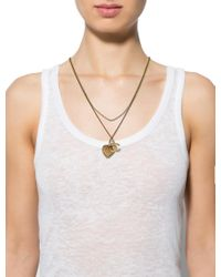 Chanel - Metallic Crystal Heart & Cc Lariat Necklace Gold - Lyst