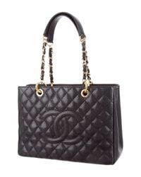Chanel - Metallic Grand Shopping Tote Black - Lyst