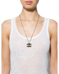 Chanel - Metallic Cc Resin Pendant Necklace Gold - Lyst