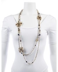 Chanel - Metallic Faux Pearl & Resin Long Chain Necklace Gold - Lyst