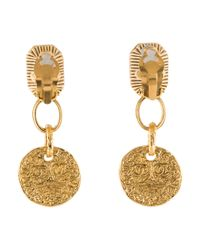 Chanel - Metallic Gripoix Clip-on Earrings Gold - Lyst