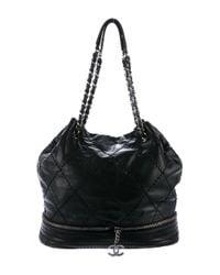 Chanel - Black Expandable Drawstring Tote - Lyst