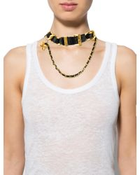 Chanel - Metallic Leather Buckle Choker Necklace Gold - Lyst