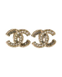 Chanel - Metallic Crystal Cc Logo Stud Earrings Gold - Lyst