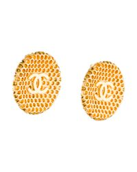 Chanel - Metallic Cc Textured Clip-on Earrings - Lyst