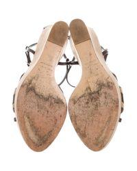Dior - Metallic Suede Wedge Sandals Olive - Lyst