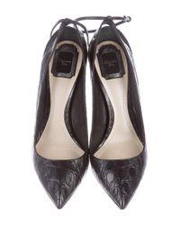 Dior - Black Alligator Pointed-toe Pumps - Lyst