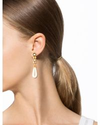 Dior - Metallic Faux Pearl Drop Clip On Earrings Gold - Lyst