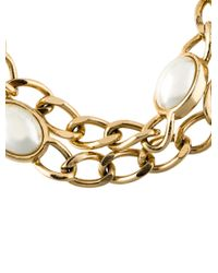 Dior - Metallic Faux Pearl Station Necklace Gold - Lyst