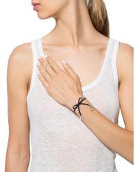 Dior - Metallic Leather Bow Bracelet Silver - Lyst