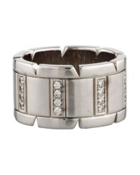 Cartier - Metallic Diamond Tank Francaise Band White - Lyst