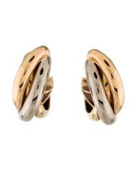 Cartier - Metallic Trinity De Hoop Earrings Yellow - Lyst