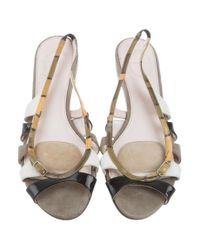 Emilio Pucci - Green Leather Slingback Sandals Olive - Lyst