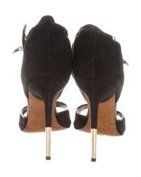 Givenchy - Metallic Suede Shark-lock Sandals Black - Lyst