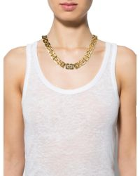 Givenchy - Metallic Brushed Gg Link Necklace Gold - Lyst