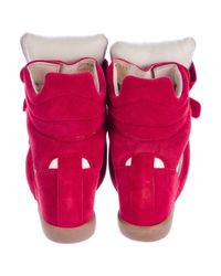 Isabel Marant - Red Beckett Wedge Sneakers - Lyst