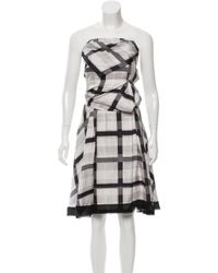 Louis Vuitton | Metallic Silk Strapless Dress Grey | Lyst