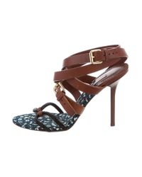 Louis Vuitton - Brown Crystal Embellished Wrap-around Sandals Cognac - Lyst