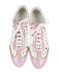 Louis Vuitton | Pink Leather Monogram Sneakers | Lyst