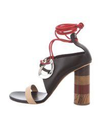 Proenza Schouler - Metallic Leather Wrap-around Sandals Black - Lyst