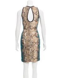 Roberto Cavalli - Metallic Snake Print Leather-trimmed Dress W/ Tags Tan - Lyst