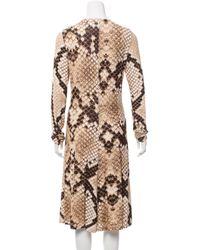 Roberto Cavalli - Metallic Snake Print Midi Dress Tan - Lyst