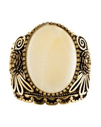 Roberto Cavalli - Metallic Resin & Floral Cuff Bracelet Gold - Lyst