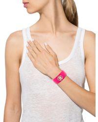 Roberto Cavalli - Metallic Logo Resin Bangle Bracelet Gold - Lyst