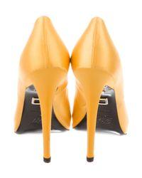 Roger Vivier | Yellow Satin Peep-toe Pumps | Lyst