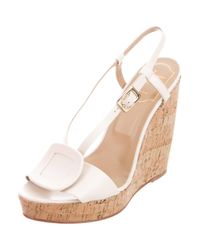 Roger Vivier - Metallic Buckle-accented Leather Wedges Gold - Lyst
