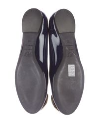 Roger Vivier - Metallic Patent Leather Buckle Flats Navy - Lyst