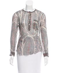 Étoile Isabel Marant - Natural Printed Silk Top - Lyst
