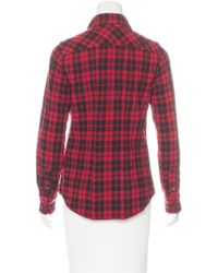 Étoile Isabel Marant - Red Wool-blend Plaid Print Top - Lyst