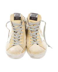 Golden Goose Deluxe Brand - Metallic Distressed Francy Sneakers Yellow - Lyst