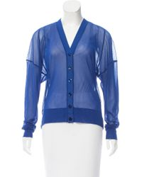 Jean Paul Gaultier - Blue Semi-sheer V-neck Cardigan W/ Tags - Lyst