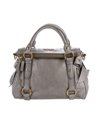 Miu Miu - Metallic Miu Small Vitello Bow Satchel Grey - Lyst