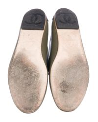 Chanel | Green Cc Leather Round-toe Flats Olive | Lyst