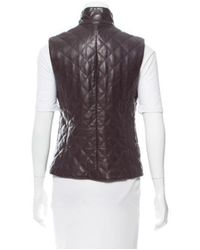 Post Card - Brown Quilted Leather Vest - Lyst