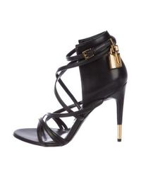 4f58af2f0798 Lyst - Tom Ford Leather Padlock Sandals Black in Metallic