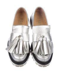 MSGM - Metallic Kiltie Loafers - Lyst