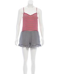 731774fccf Lyst - Red Valentino Valentino Stripe Printed Sleeveless Romper in Red