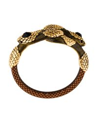 Roberto Cavalli - Metallic Dual Serpent Embellished Bangle Bracelet Gold - Lyst