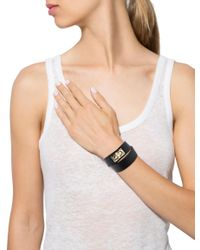 Givenchy | Metallic Shark Tooth Leather Wrap Bracelet Gold | Lyst